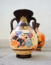 Ceramic greek vases on stone background Stock Photography