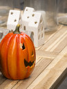 Ceramic halloween pumpkin for sale at a store in copenhagen Royalty Free Stock Photo