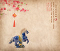 Ceramic horse souvenir on old paper,traditional chinese calligra Royalty Free Stock Photo