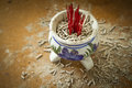 Ceramic joss stick pot Royalty Free Stock Photo