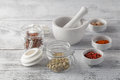 Ceramic Mortar with Pestle and fresh spices Royalty Free Stock Photo