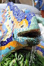 Ceramic mosaics decorated lizard - Guell Park Royalty Free Stock Photos