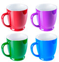 Ceramic mug, blue, green, red and purple color, isolate on a whi Royalty Free Stock Photo