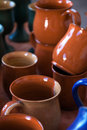Ceramic mugs for sale mug with selective focus on the front of the circle and a blurred background Royalty Free Stock Photos