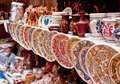 Ceramic plates and souvenirs Stock Photos