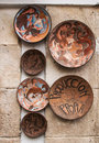 Ceramic plates in spain handmade on the wall of the building of cuenca city la mancha district central Stock Photography