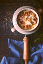 Ceramic pot with onion soup on the wooden table Royalty Free Stock Photo