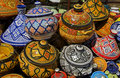 Ceramic pots on offer in a moroccan market in meknes Royalty Free Stock Image