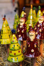 Ceramic Santa Claus and Tree decorative figures Royalty Free Stock Photo