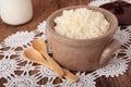 Ceramic saucepan with  milk rice porridge Royalty Free Stock Photo