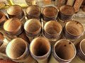 Ceramic sewage pipes and drainage from material Royalty Free Stock Photos