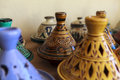 Ceramic souvenirs of fez morocco in medina there are many products for souvenir their hand painted moroccan products range from Royalty Free Stock Photos