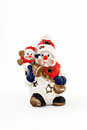 Ceramic statuette of two snowmen isolated Royalty Free Stock Photo