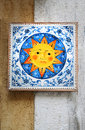 Ceramic sun tiles in a souvenir shop in sicily italy Royalty Free Stock Images