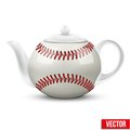 Ceramic teapot in baseball ball style football the form of vector illustration isolated of background Stock Photo