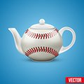 Ceramic teapot in baseball ball style vector background of the form of illustration Stock Images