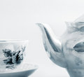 Ceramic teapot cup isolated Stock Images
