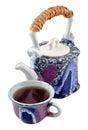 Ceramic teapot and a tea cup. Royalty Free Stock Photos