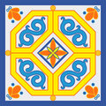 Ceramic tile decoration in old sicilian style Royalty Free Stock Images