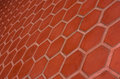 Ceramic tile flooring orange,shooting angle in obliquely. Royalty Free Stock Photo