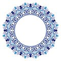 Ceramic tile pattern. Decorative round ornament. White background with art frame. Islamic, indian, arabic motifs
