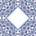 Ceramic tile pattern with watercolor ornament. Islamic, indian,