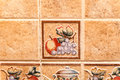 Ceramic tiles colorful vintage wall decoration Royalty Free Stock Images
