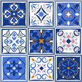 Ceramic tiles vintage patterns. Vector spanish style architecture blue tale set Royalty Free Stock Photo
