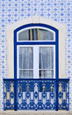 Ceramic tiles window decorated with portuguese Royalty Free Stock Photo