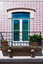 Ceramic tiles window decorated with portuguese Royalty Free Stock Photos