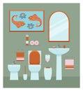 Ceramic toilet interior in flat style