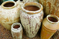 Ceramic urns large or pots for sale at garden supply shop Royalty Free Stock Images