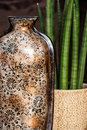 Ceramic vase with artistic pattern and potted plant Royalty Free Stock Photo