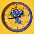 Ceramic wall clock on yellow Royalty Free Stock Photos