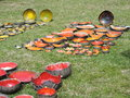Ceramics crockery colorful on grass in street sale lithuania Royalty Free Stock Photos