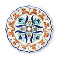 Ceramics decorative plates, Islamic plate with mandala pattern, View from above isolated on white background with clipping path Royalty Free Stock Photo