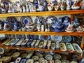 Ceramics traditional portugal in a small shop of porcelain in town Royalty Free Stock Photo