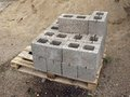 Ceramsite blocks expanded clay ceramic construction on wooden pallet Stock Image