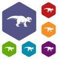 Ceratopsians dinosaur icons set hexagon
