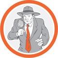 Cerchio di holding magnifying glass dell agente investigativo retro Fotografia Stock Libera da Diritti