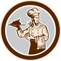 Cercle de serving food platter de cuisinier de chef rétro Image stock
