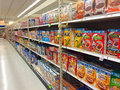 Cereal aisle fred meyer springfield or usa december at is a popular breakfast food in the usa Royalty Free Stock Images