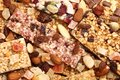 Cereal bars close up of various with dry fruits and nuts Stock Image