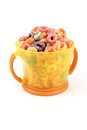 Cereal in a bowl on white background Royalty Free Stock Photo