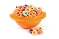 Cereal in a bowl on white background Royalty Free Stock Images