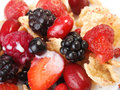 Cereal brakfast with berries shot from above Stock Photos