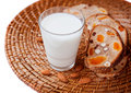 Cereal bread and a glass of milk healthy eating grain with dried fruit nuts food Royalty Free Stock Photos