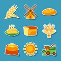 Cereal cultivation and farming sticker icon set Royalty Free Stock Photo