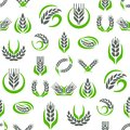 Cereal ears and grains agriculture industry seamless pattern background design vector food illustration organic natural Royalty Free Stock Photo