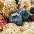 Cereal flakes with berries blueberries strawberries and raspberries skim milk Royalty Free Stock Photography